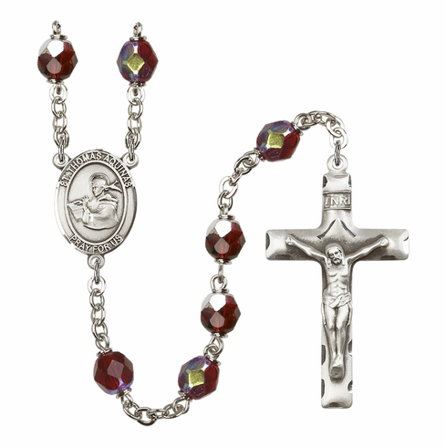 St Thomas Aquinas 7mm Lock Link Aurora Borealis Garnet Rosary by Bliss Mfg