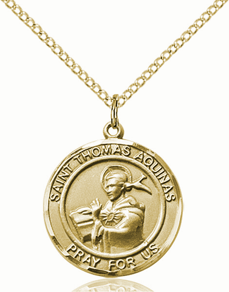 St Thomas Aquinas Medium Patron Saint 14kt Gold-filled Medal by Bliss