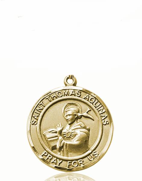 St Thomas Aquinas Medium Patron Saint 14kt Gold Medal by Bliss