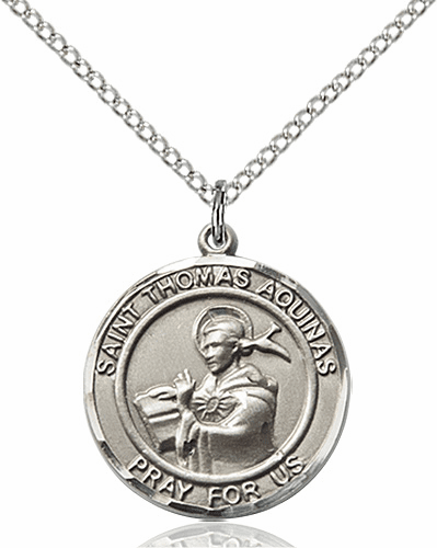 St Thomas Aquinas Medium Patron Saint Silver-filled Medal by Bliss