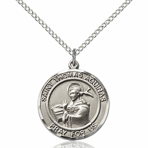 St Thomas Aquinas Medium Patron Saint Sterling Silver Medal by Bliss