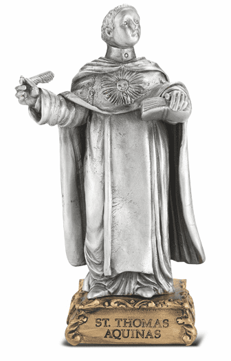 St Thomas Aquinas Patron Saint Pewter Statue on Gold Tone Base by Hirten