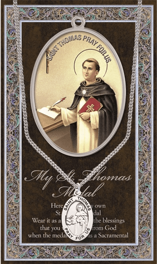 St Thomas Aquinas Pewter Patron Saint Medal Necklace with Prayer Pamphlet by Hirten