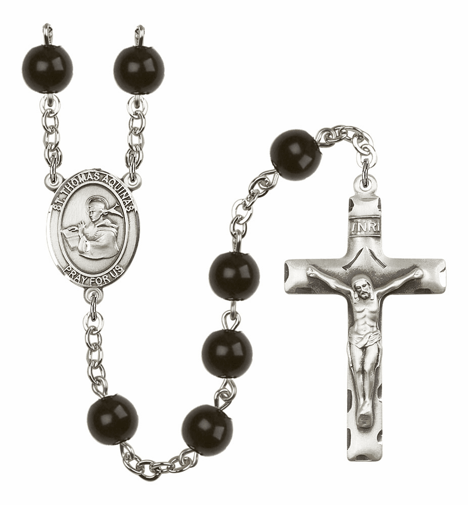 Bliss Mfg St Thomas Aquinas Silver 7mm Black Onyx Rosary