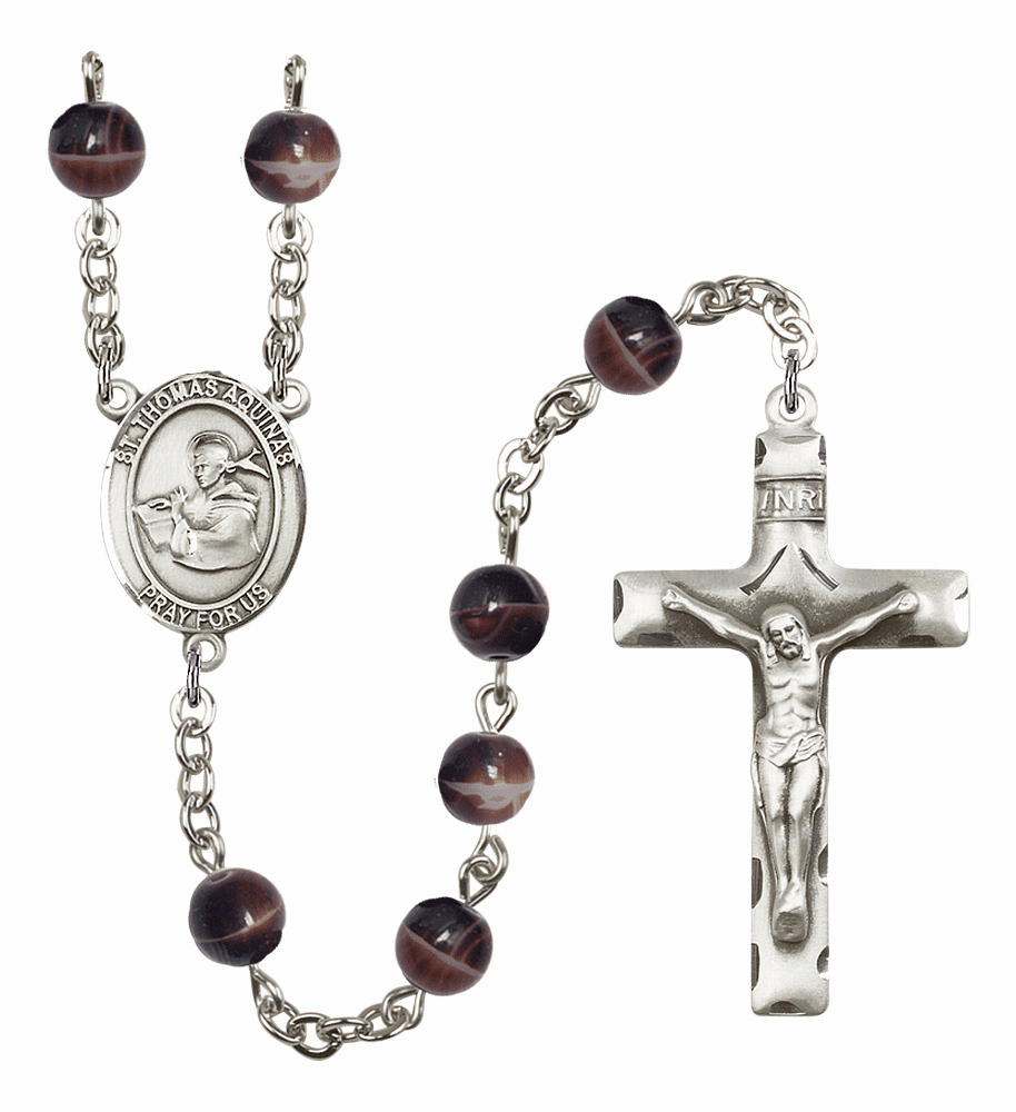 St Thomas Aquinas Silver Plate 7mm Brown Gemstone Prayer Rosary by Bliss