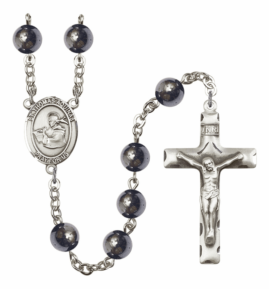 St Thomas Aquinas 8mm Hematite Gemstone Rosary by Bliss
