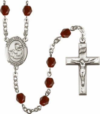 St Thomas Aquinas Silver Plate Birthstone Crystal Prayer Rosary by Bliss