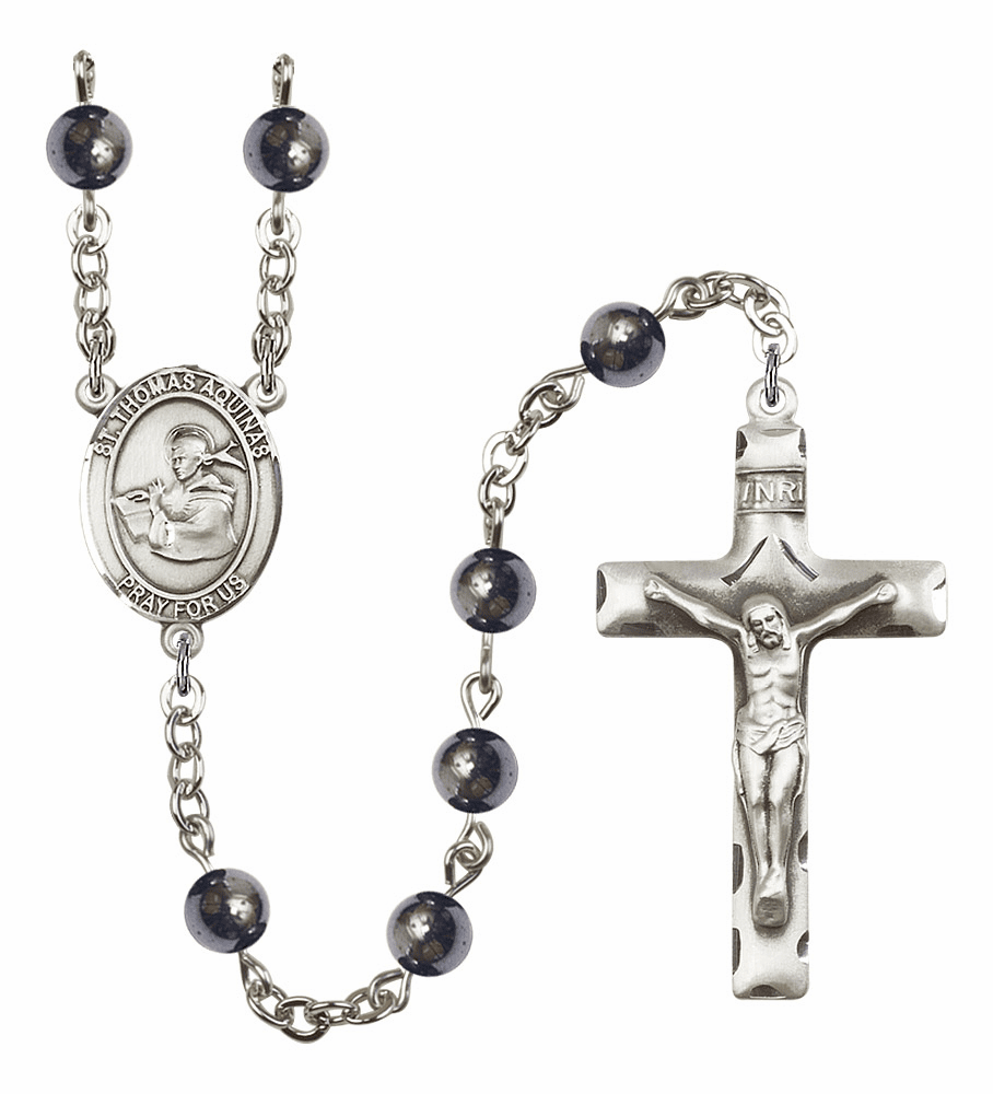 St Thomas Aquinas 6mm Hematite Gemstone Rosary by Bliss