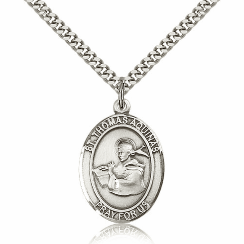 St Thomas Aquinas  Silver-Filled Patron Saint Necklace by Bliss