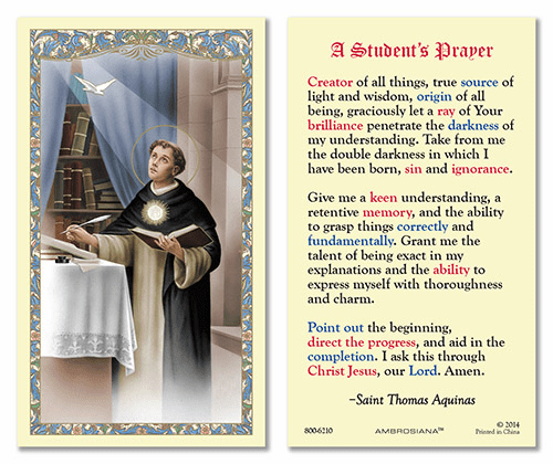 St Thomas Aquinas Student's Prayer Laminated Gerffert 25pkg Holy Cards