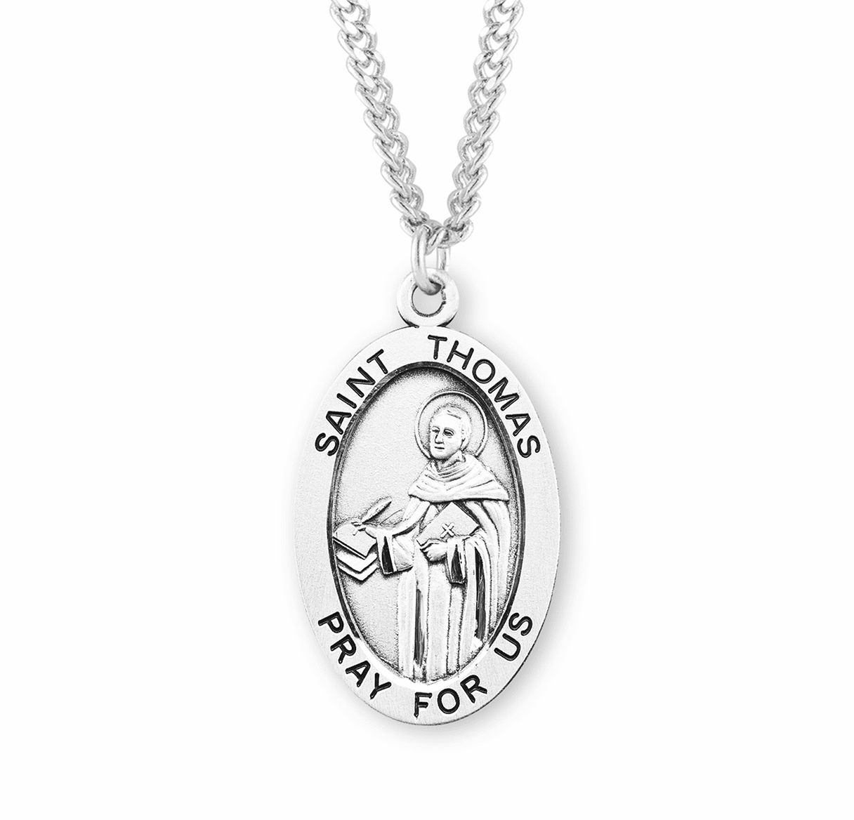 St Thomas Large Oval Sterling Silver Patron Saint Medals by HMH Religious