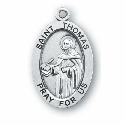 HMH Religious St Thomas Large Saint Sterling Silver Medal Necklace w/Chain
