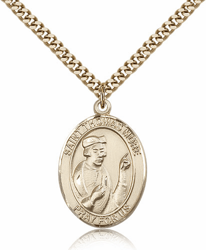 St Thomas More 14kt Gold-filled Saint Necklace by Bliss