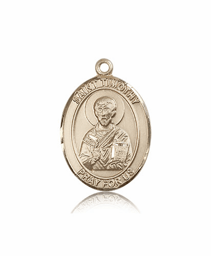 St Timothy 14kt Gold Patron Saint Pendant Medal by Bliss