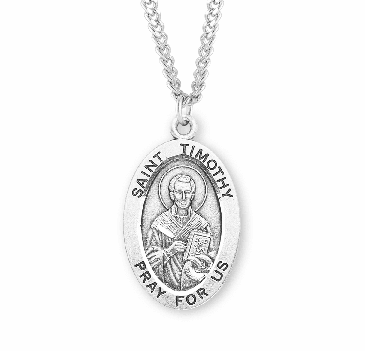 St Timothy Large Oval Sterling Silver Patron Saint Medals by HMH Religious
