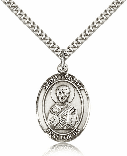 St Timothy Patron Saint Medal Necklace by Bliss