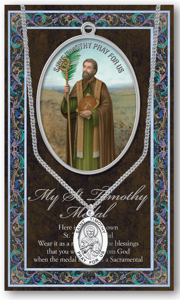 St Timothy Pewter Patron Saint Medal Necklace with Prayer Pamphlet by Hirten