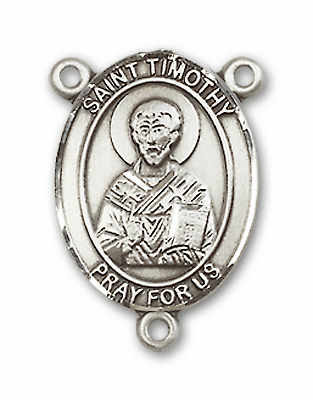 St Timothy Sterling Silver Saint Rosary Center by Bliss