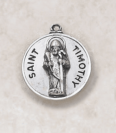St Timothy Sterling Sterling Patron Saint Medal w/Chain by Creed Jewelry