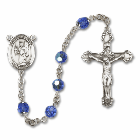 St Uriel the Archangel Sapphire Swarovski Sterling and Gold Rosaries by Bliss - More Colors