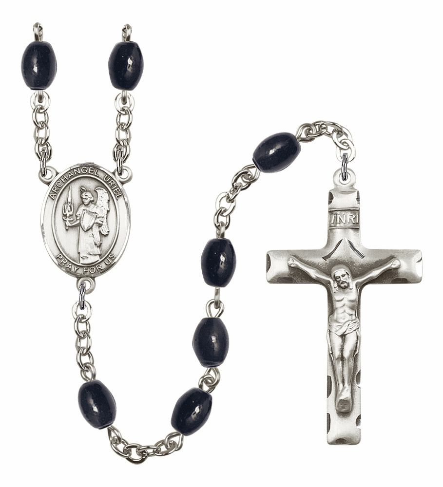 St Uriel the Archangel 8x6mm Black Onyx Gemstone Rosary by Bliss