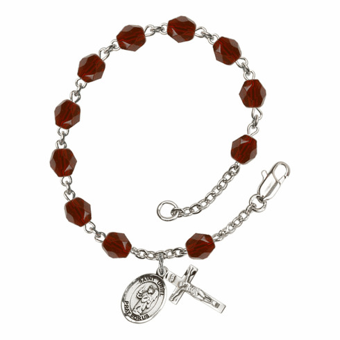 St Uriel the Archangel Silver Plate Birthstone Rosary Bracelet by Bliss