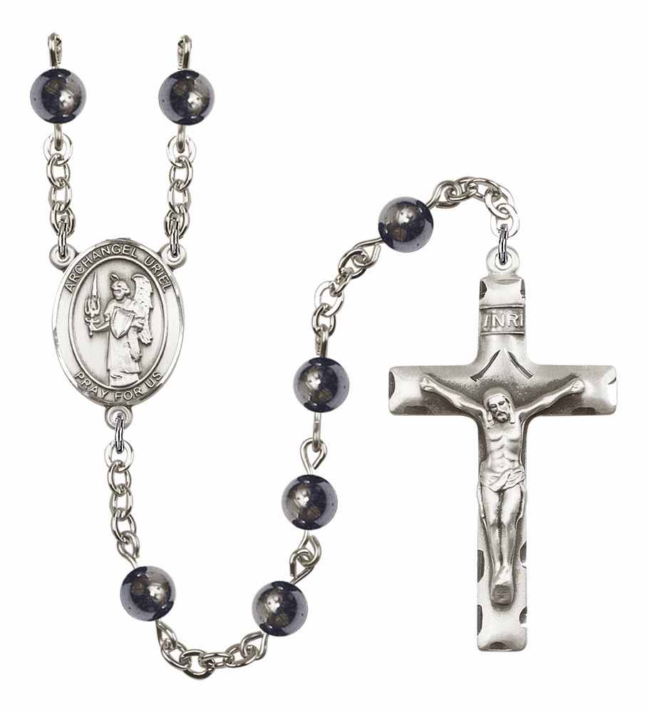 St Uriel the Archangel 6mm Hematite Gemstone Rosary by Bliss