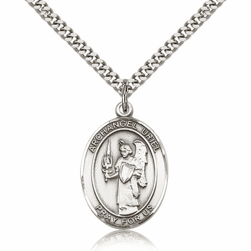 St Uriel the Archangel Silver-Filled Patron Saint Necklace by Bliss