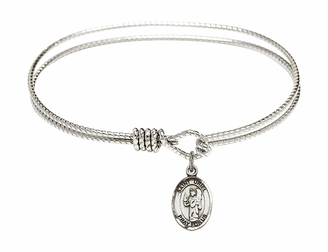 St Uriel the Archangel Textured Bangle w/Sterling Charm Bracelet by Bliss