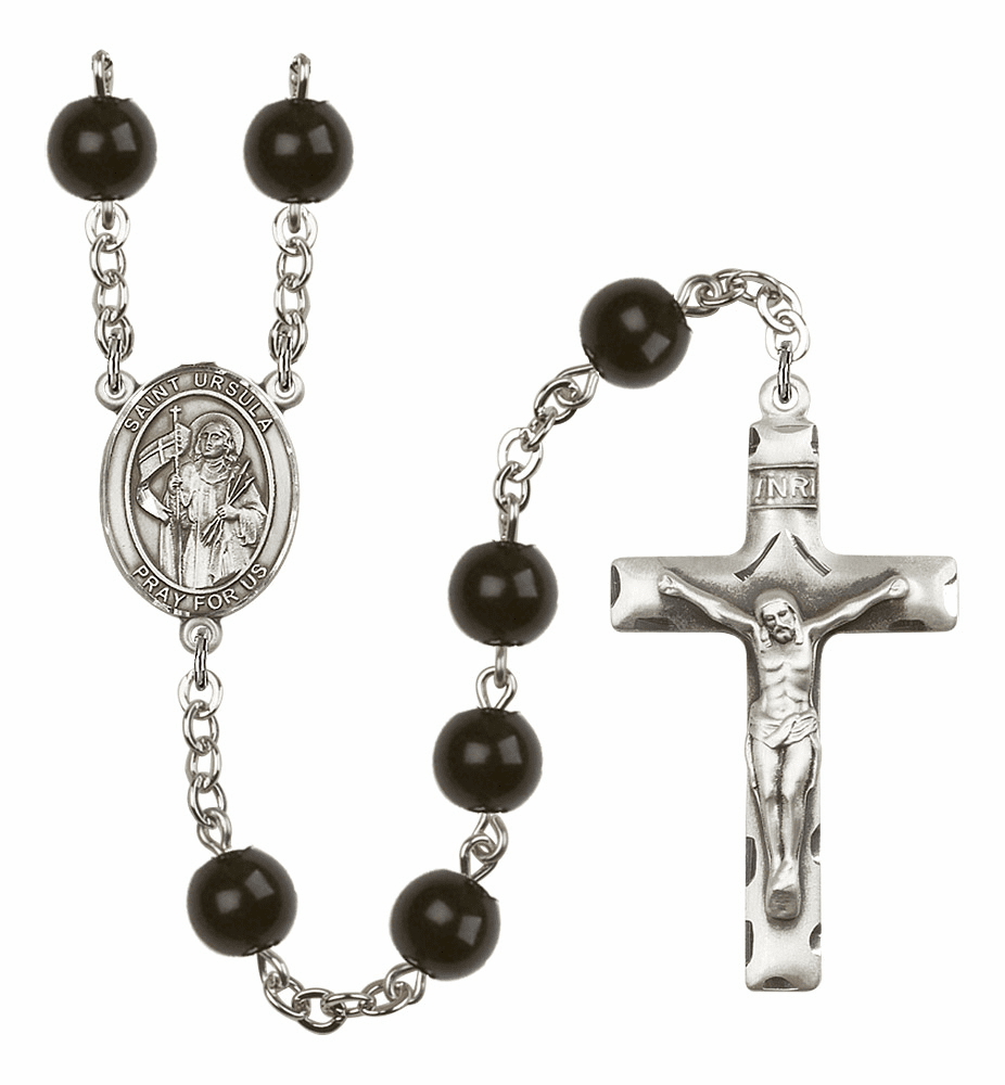 Bliss Mfg St Ursula Silver 7mm Black Onyx Rosary