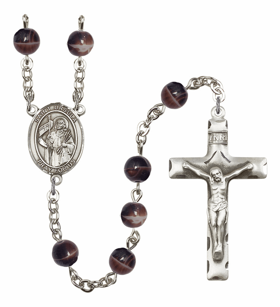 St Ursula 7mm Brown Gemstone Rosary by Bliss