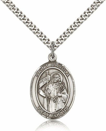 St Ursula Sterling Silver Patron Saint Medal Necklace by Bliss Mfg