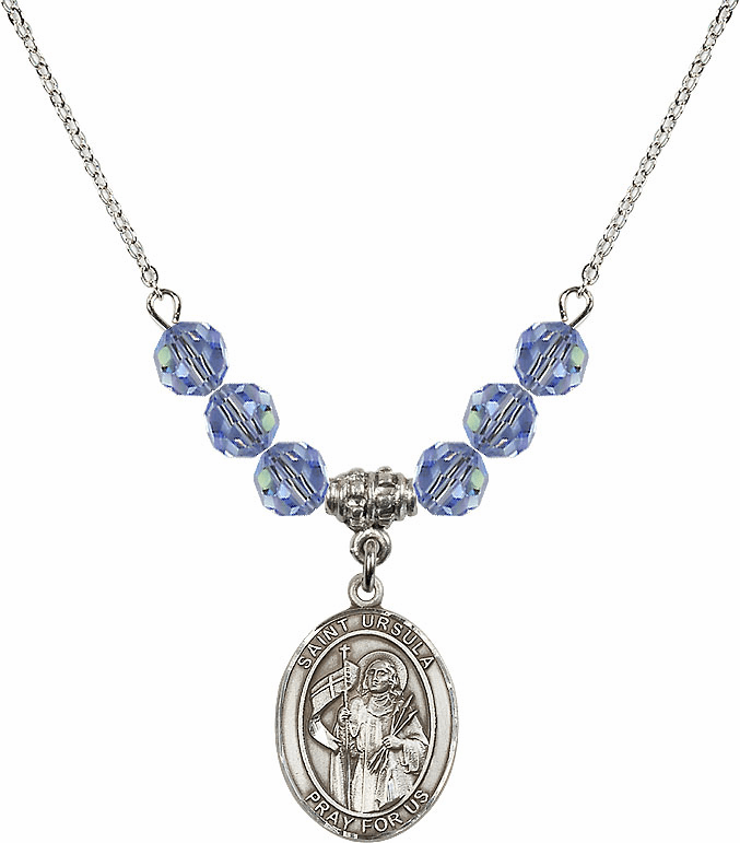 St Ursula Swarovski Crystal Beaded Patron Saint Necklace by Bliss Mfg