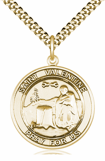 St Valentine of Rome Large Patron Saint 14kt Gold-filled Medal by Bliss