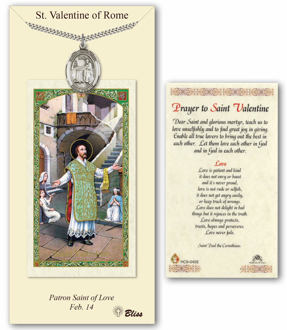 Bliss Mfg St Valentine of Rome Prayer Card & Pendant Gift Set