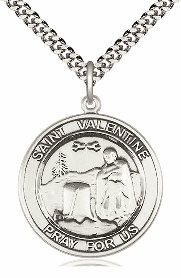 St Valentine of Rome Round Sterling Silver Saint Medal Necklace by Bliss
