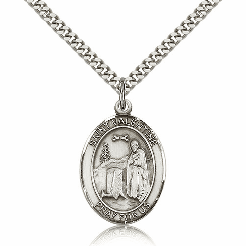 St Valentine of Rome Silver-Filled Patron Saint Necklace by Bliss