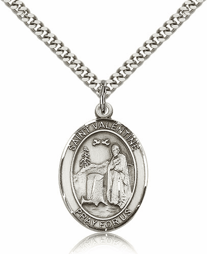St Valentine of Rome Sterling Silver Medal Necklace by Bliss Mfg
