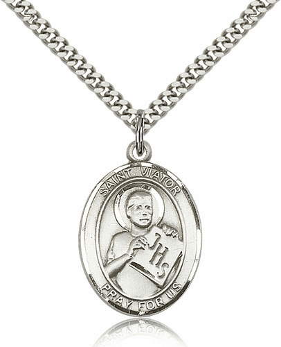 St Viator of Bergamo Patron Saint Sterling Silver Necklace by Bliss