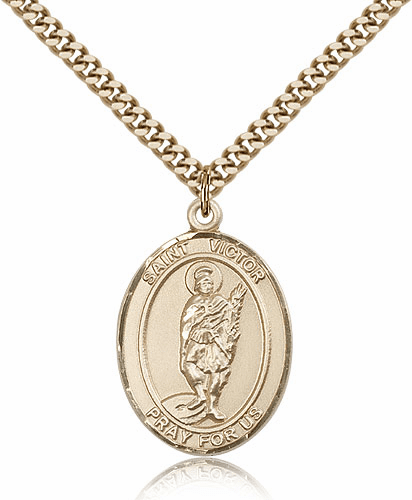 St Victor of Marseilles 14kt Gold-Filled Saint Medal Necklace by Bliss