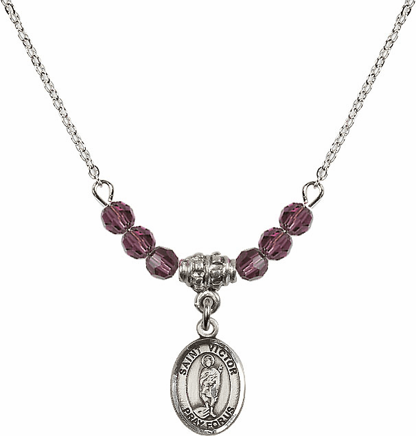 St Victor of Marseilles 4mm Swarovski Crystal February Amethyst Necklace by Bliss Mfg