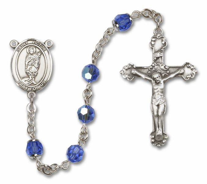 St Victor of Marseilles Sapphire Swarovski Sterling and Gold Rosaries by Bliss