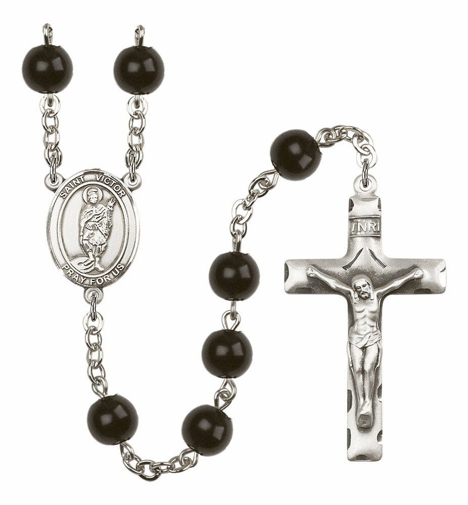 Bliss Mfg St Victor of Marseilles Silver 7mm Black Onyx Rosary