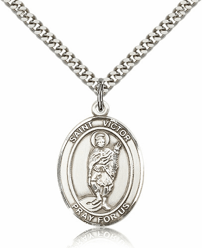 St Victor of Marseilles Sterling Silver Patron Saint Medal Necklace by Bliss