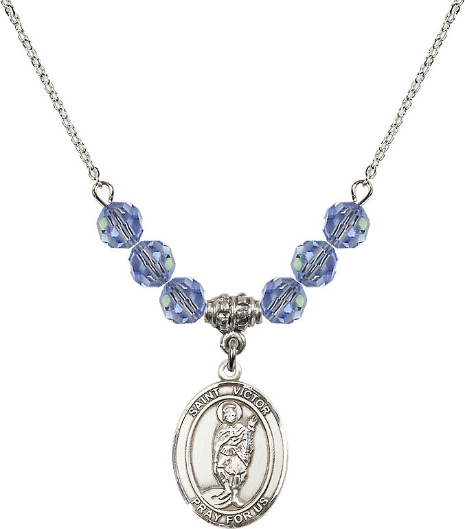 St Victor of Marseilles Swarovski Crystal Beaded Patron Saint Necklace by Bliss Mfg