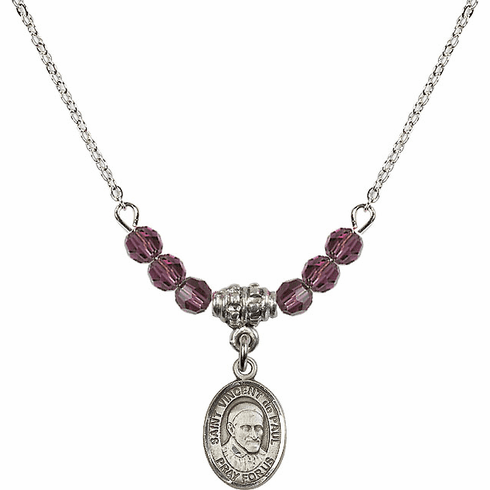 St Vincent de Paul 4mm Swarovski Crystal February Amethyst Necklace by Bliss Mfg
