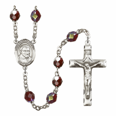 St Vincent de Paul 7mm Lock Link AB Garnet Rosary by Bliss Mfg