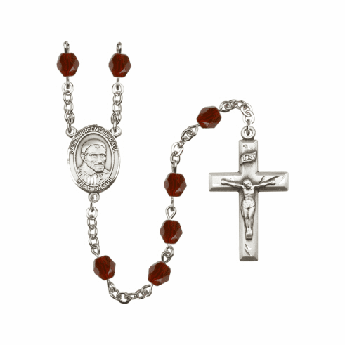 St Vincent de Paul Birthstone Crystal Prayer Rosary by Bliss - More Colors