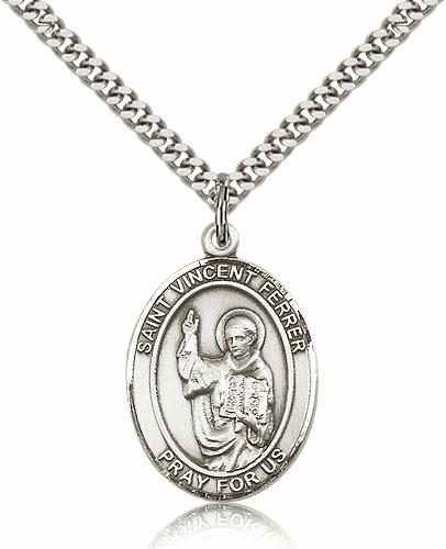 St Vincent Ferrer Pendant Sterling Silver Medals Necklace by Bliss Mfg