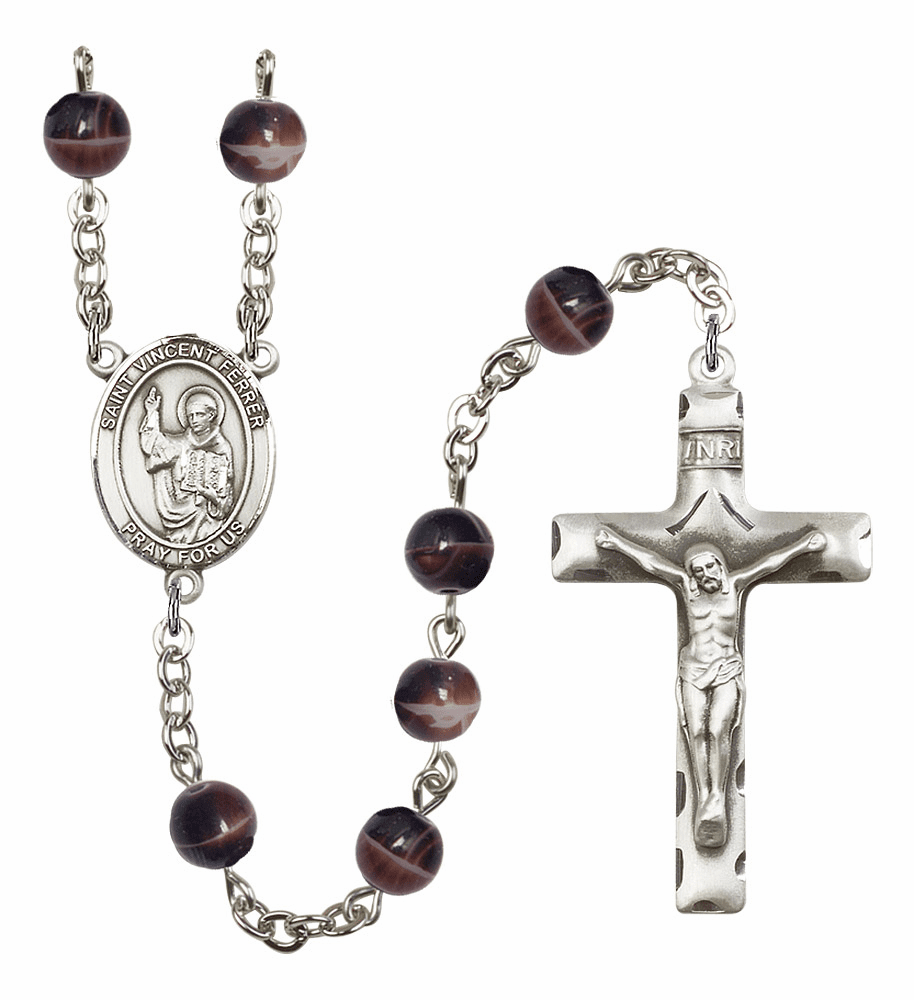 St Vincent Ferrer 7mm Brown Gemstone Rosary by Bliss